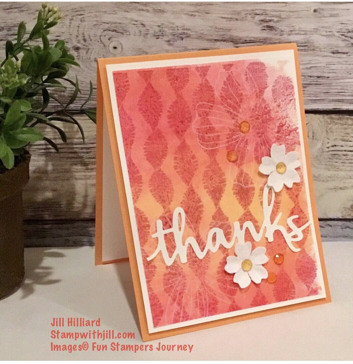 Gel Press card, Fun Stampers Journey