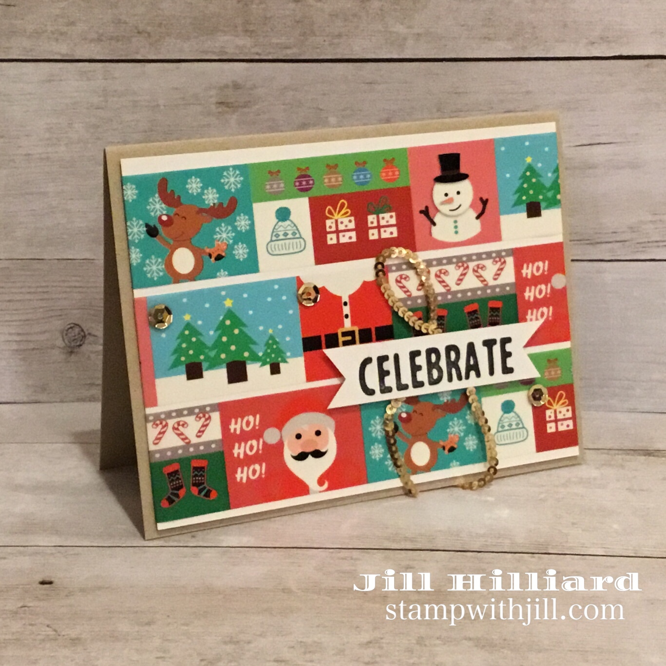 fast & simple Christmas card with washi tape thats a bloom benefit