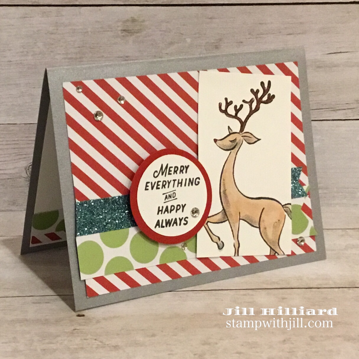 reindeer Christmas card, Merry Everything, Jills Card Creations and Fun Stampers Journey