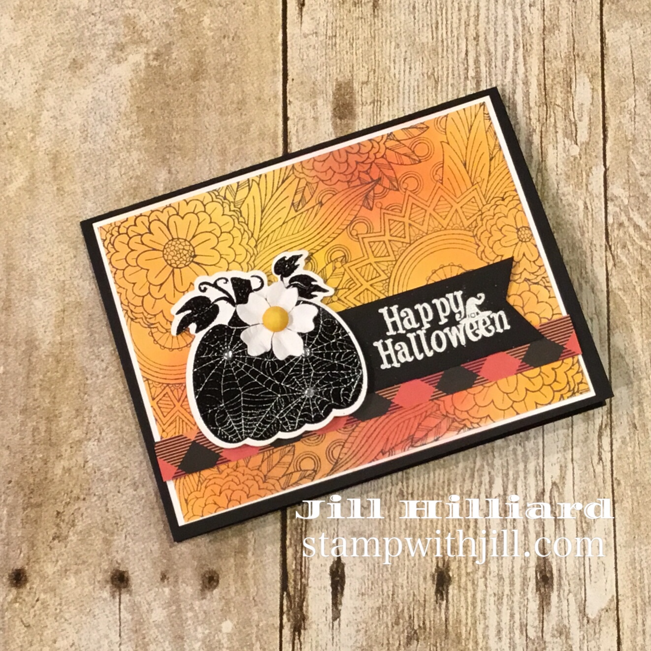 easy Halloween card, Stamp with Jill, Fun Stampers Journey, Marthas Pumpkins