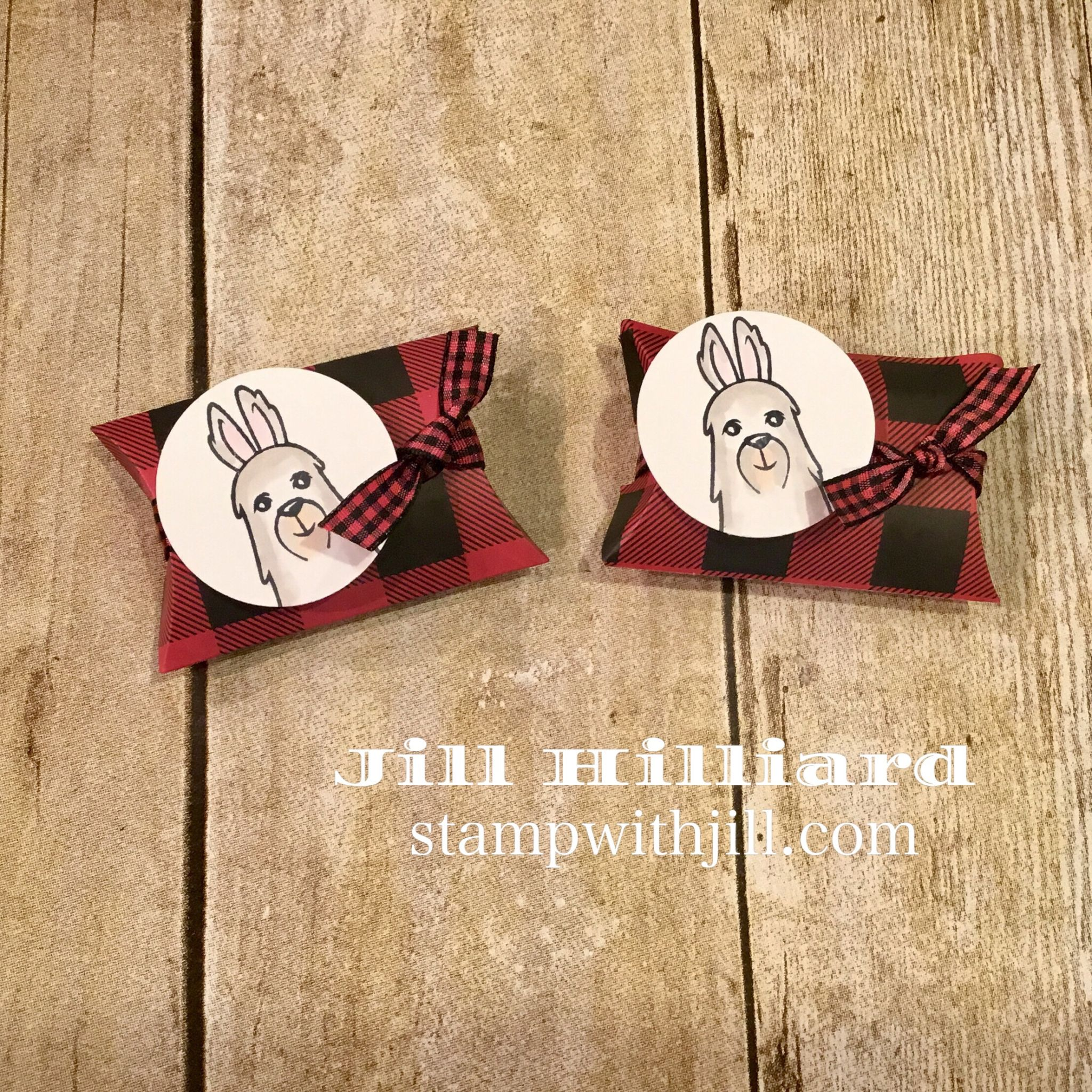 No Prob-Llama Christmas card and mini pillow box, Stamp with Jill