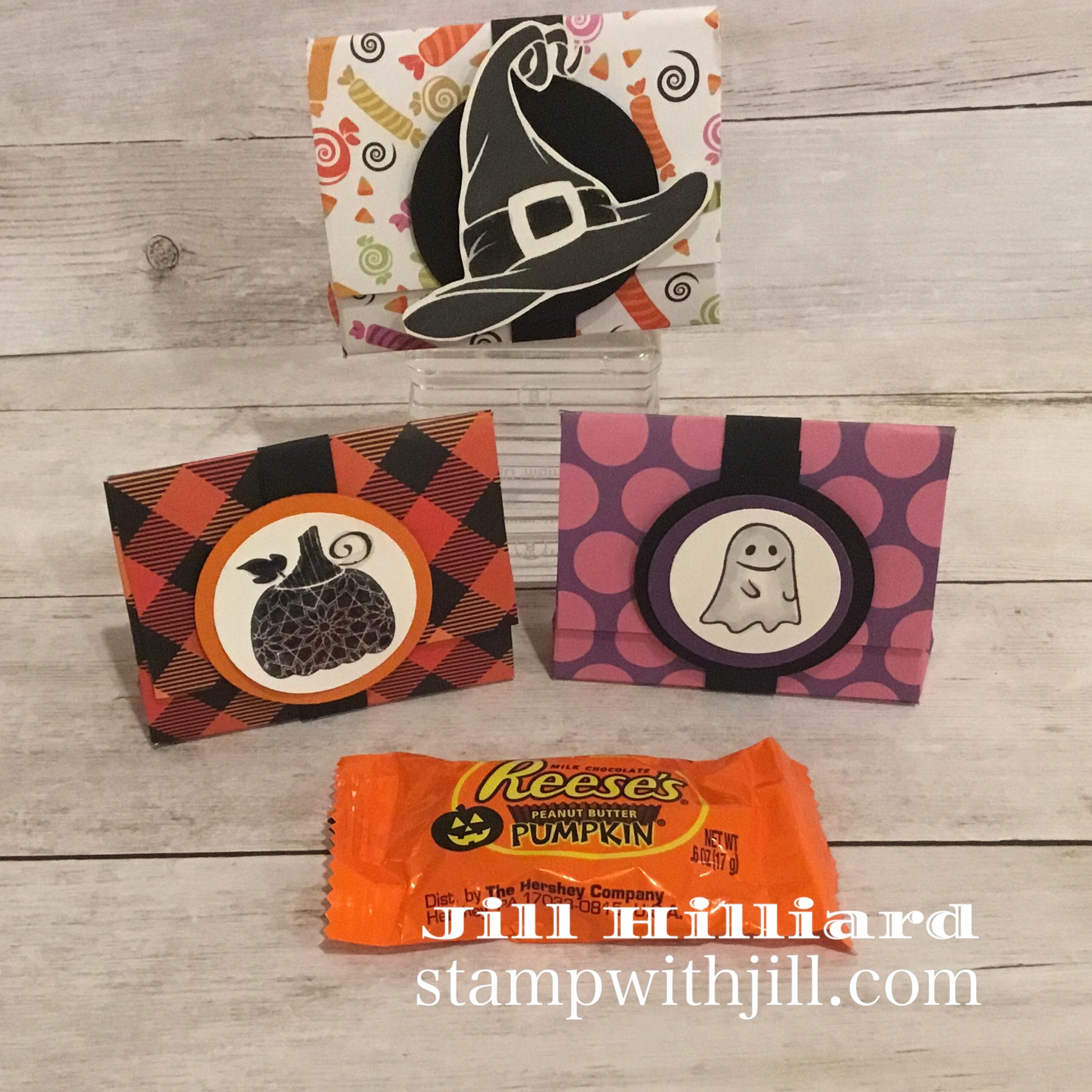 reeses pumpkin treat holder, Stamp with jill, Fun Stampers Journey.