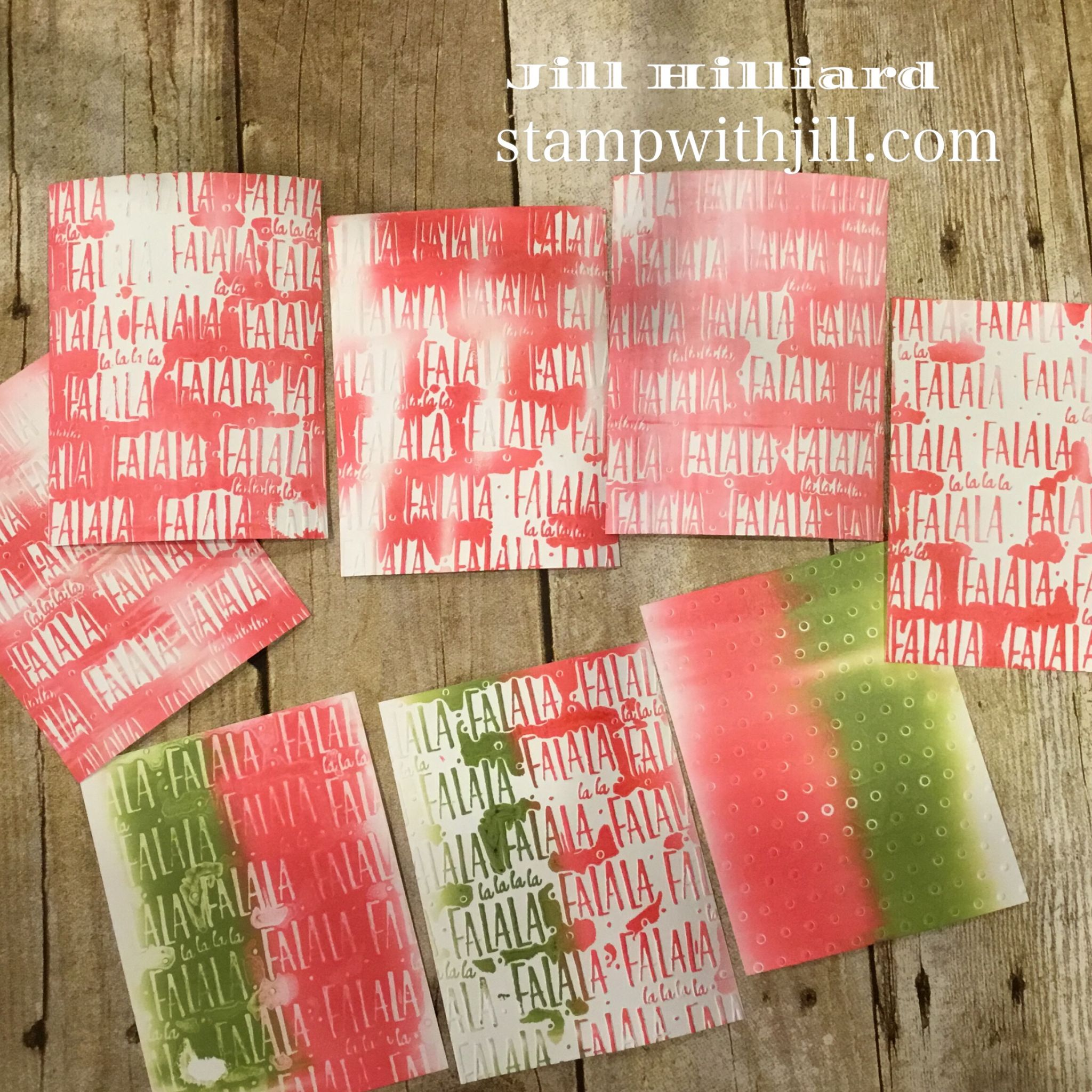 gel press Christmas card backgrounds, Stamp with Jill
