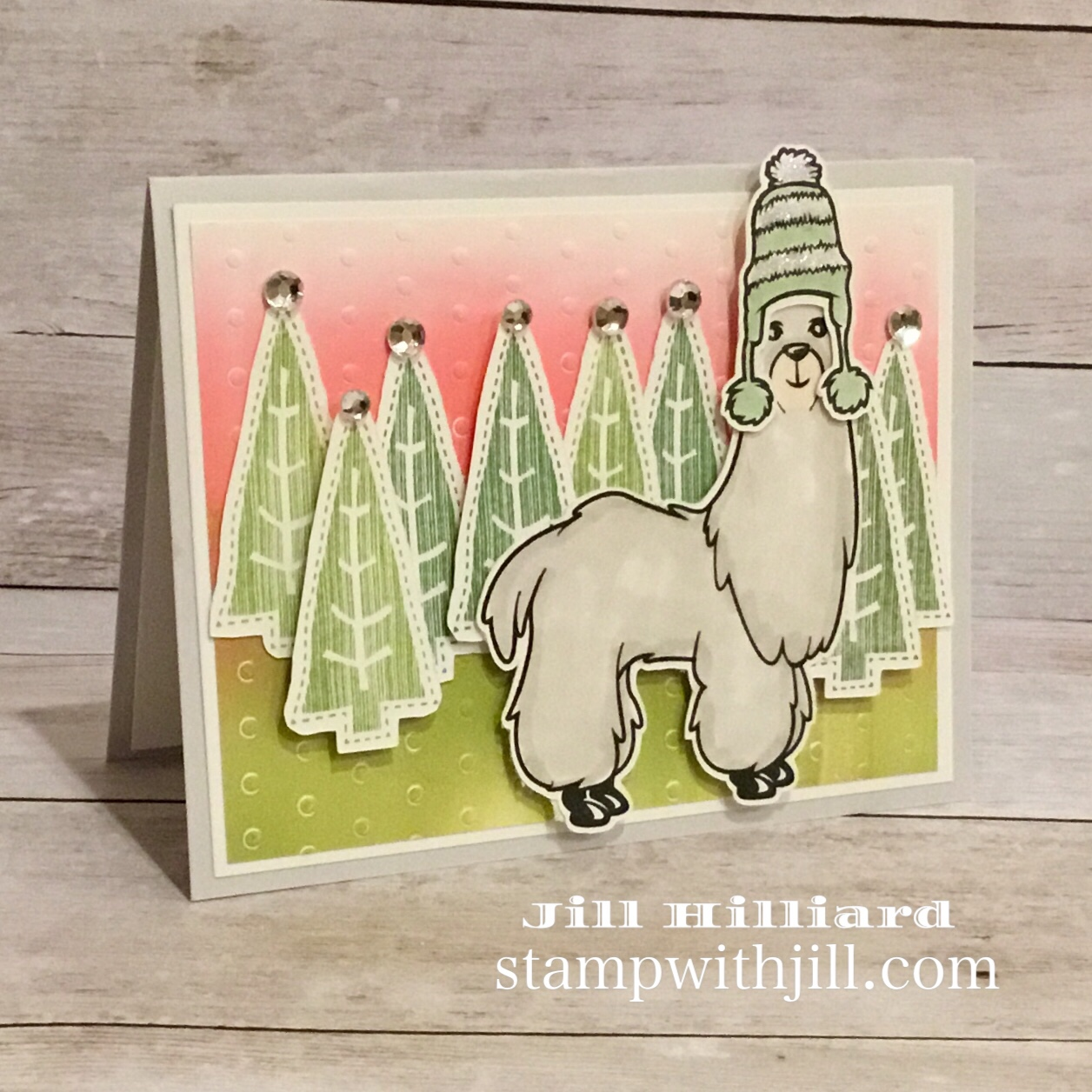 Gel Press Christmas  Llama card, Stamp with Jill