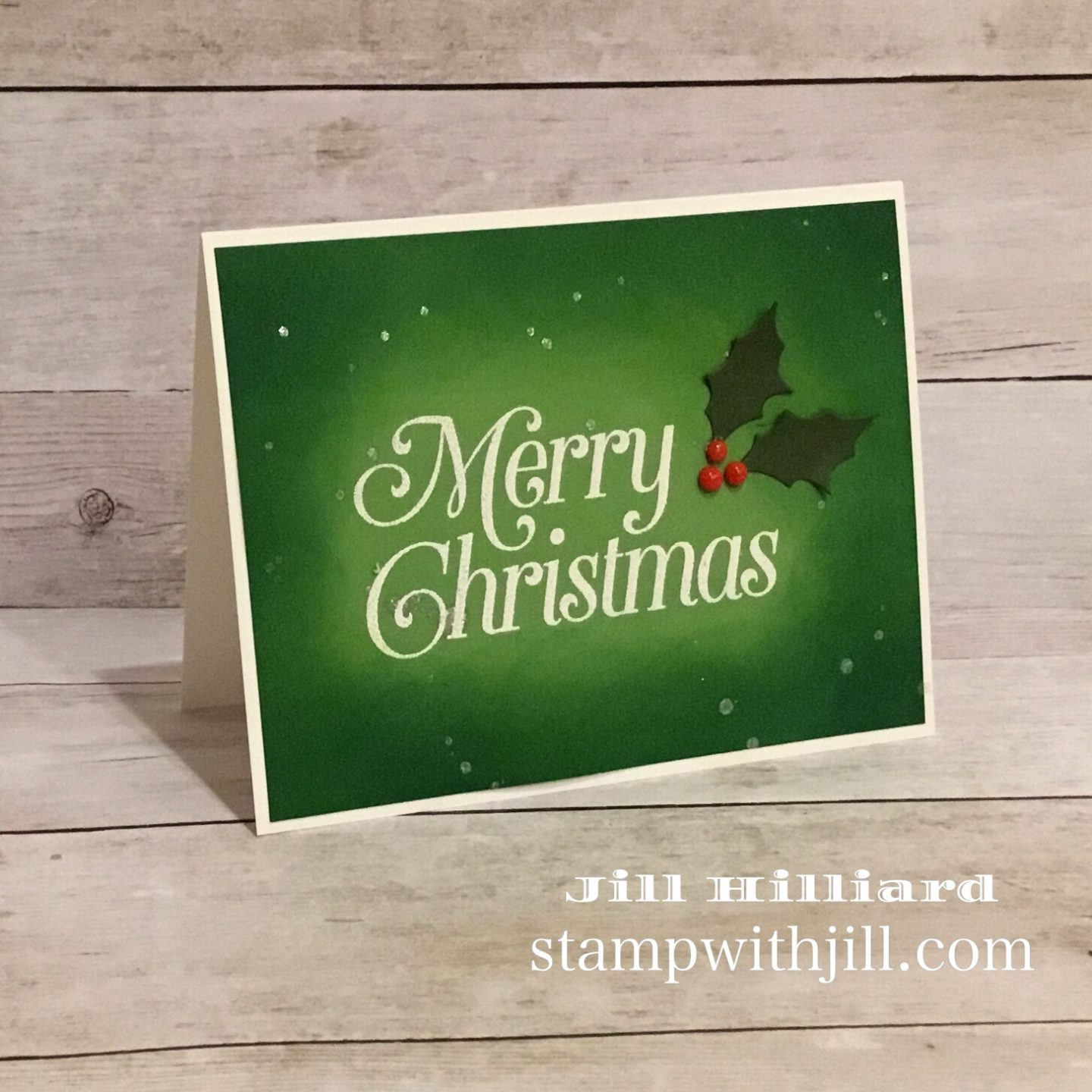 spotlight ink blending, stamp with Jill concord & 9th, very merry sentiments