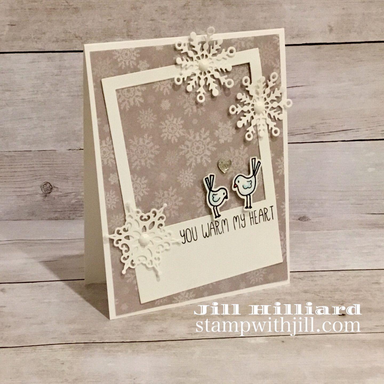 Snowflake card, stamp with Jill, Spellbinders dies