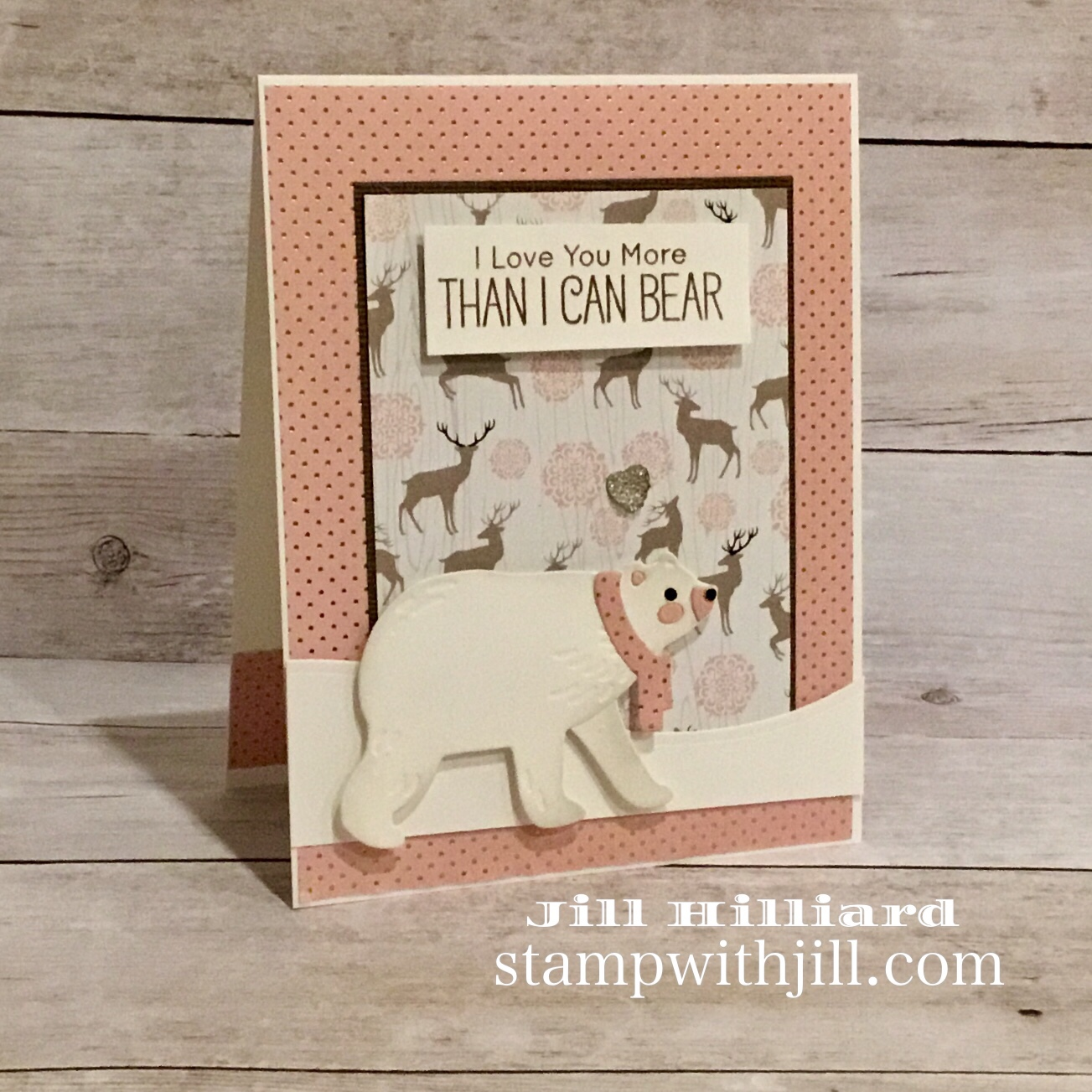 Winter Wishes Spellbinders card kit Dec 2018, Stamp with Jill, Polar bear card.