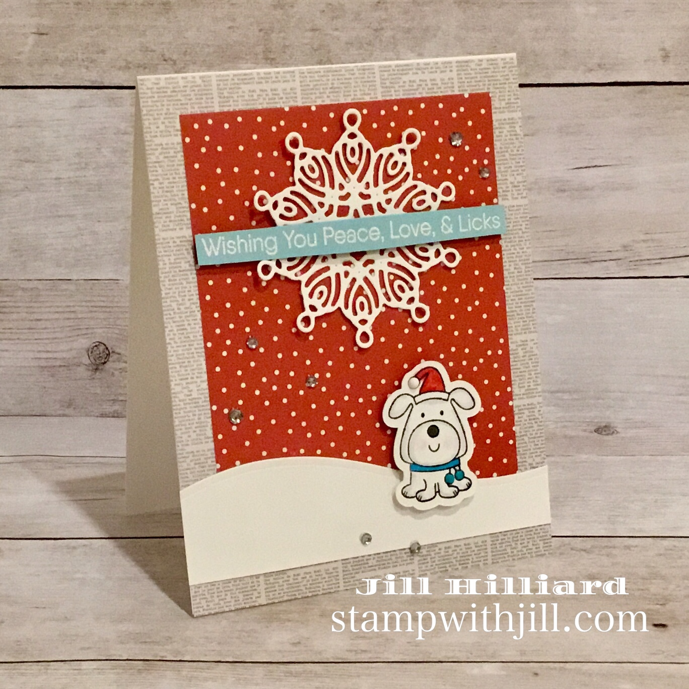 Stamp with Jill MFT deck the Howls christmas card