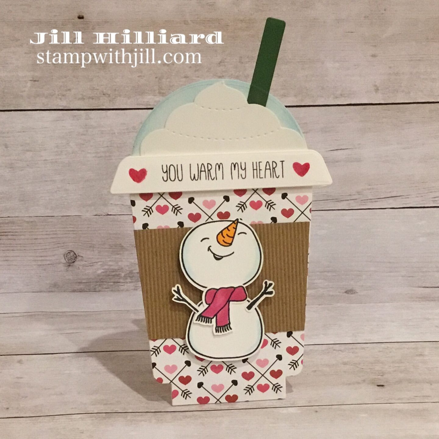 Honey Bee Stamps Frappe Shake Valentine Card with Snow Buddies, Stamp With Jill