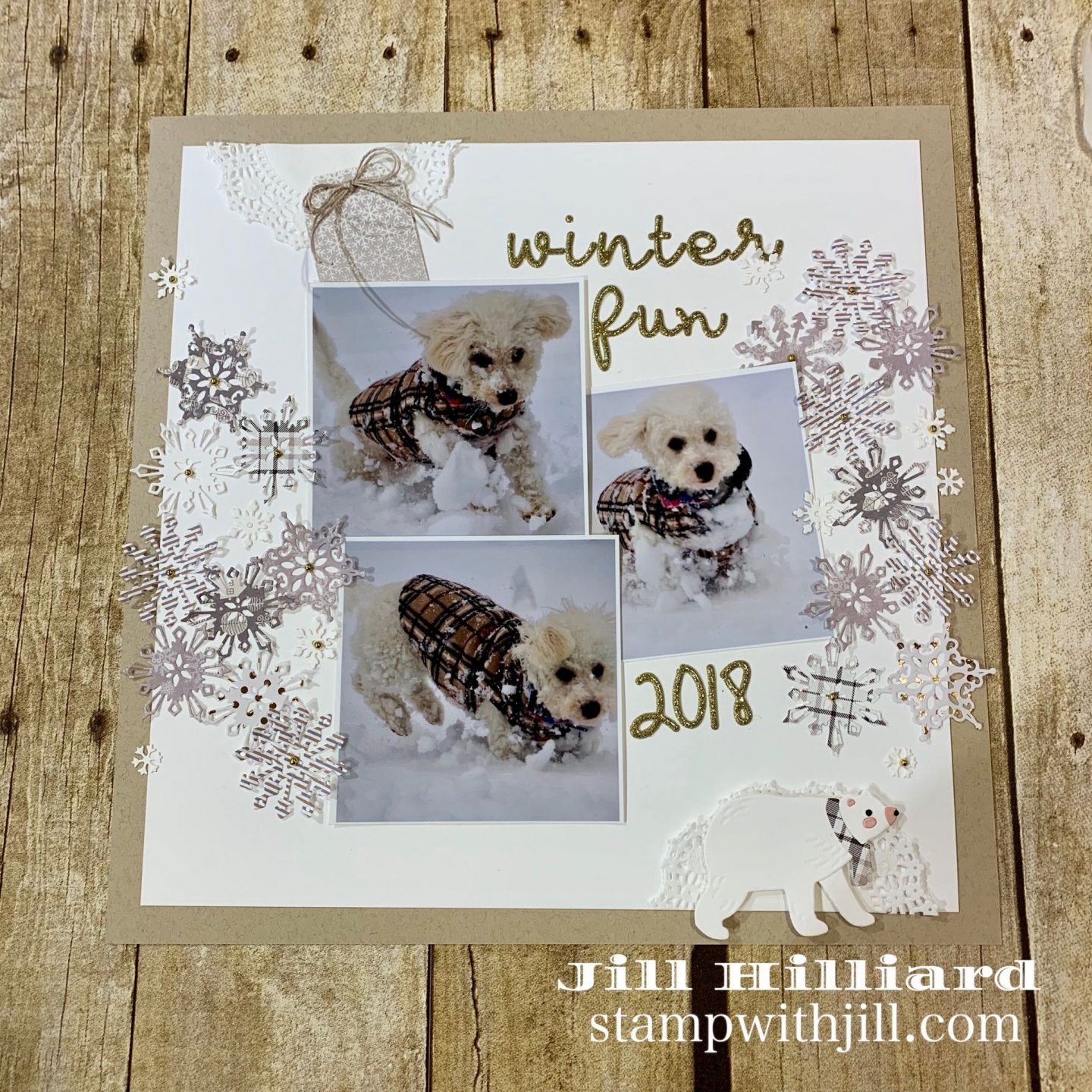 Spellbinders card kit scrapbook pages, Stamp with Jill