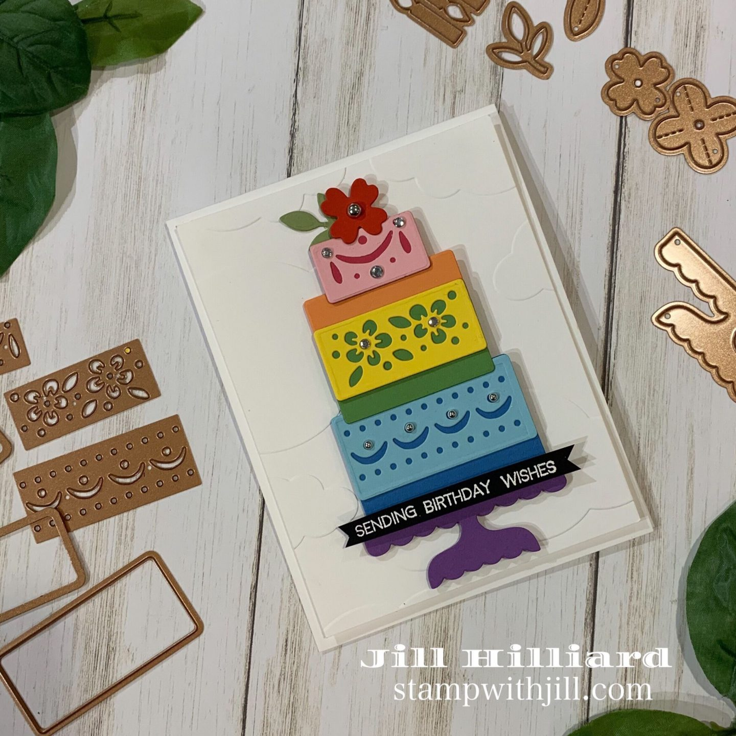 Stamp with Jill, rainbow cake birthday card featuring the Celebrate with Cake dies from Spellbinders