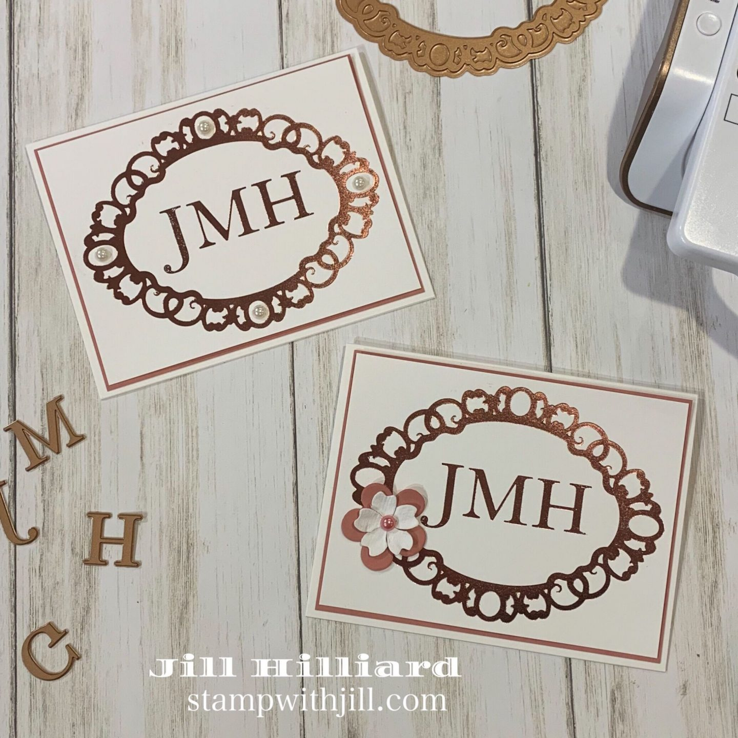 Stamp with Jill, Glimmer Hot Foil Monogrammed Note cards