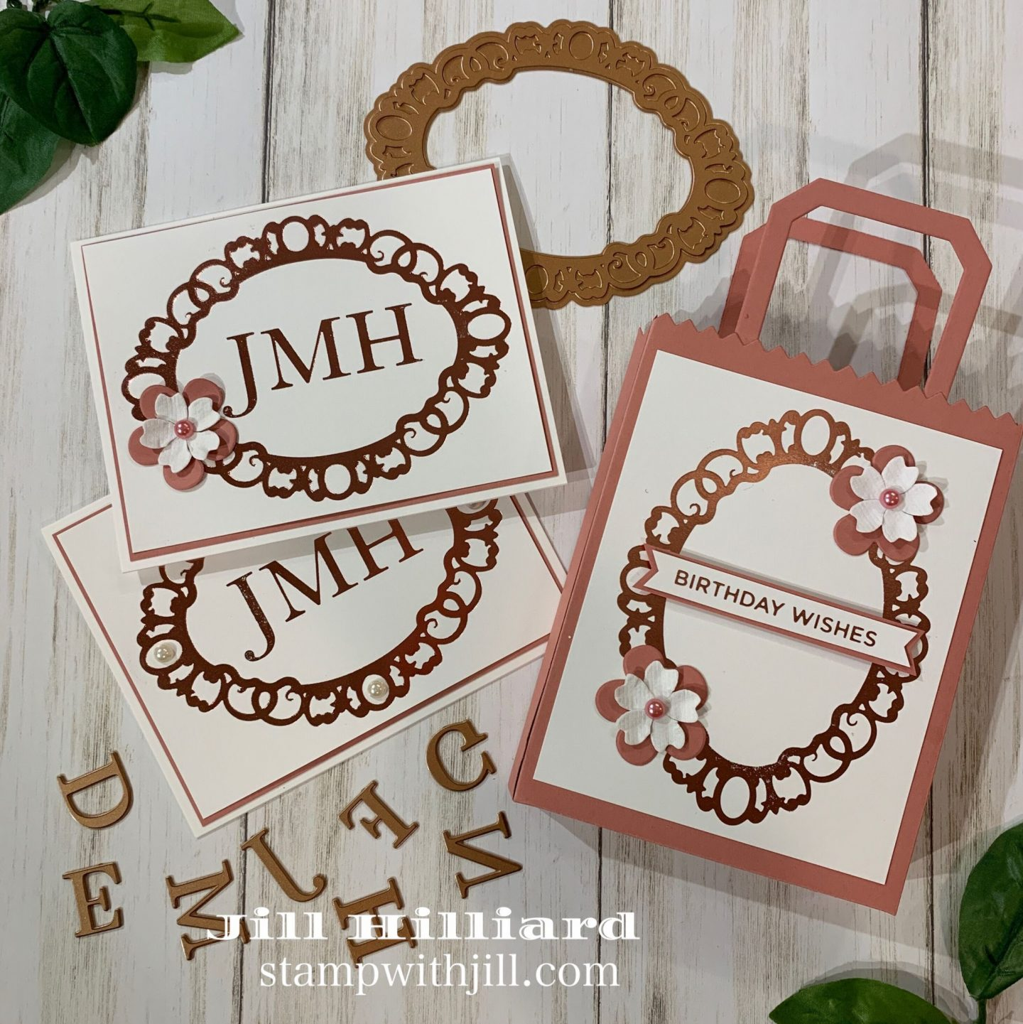 Stamp with Jill, Glimmer Hot Foil Monogrammed Note cards and card carrier die.