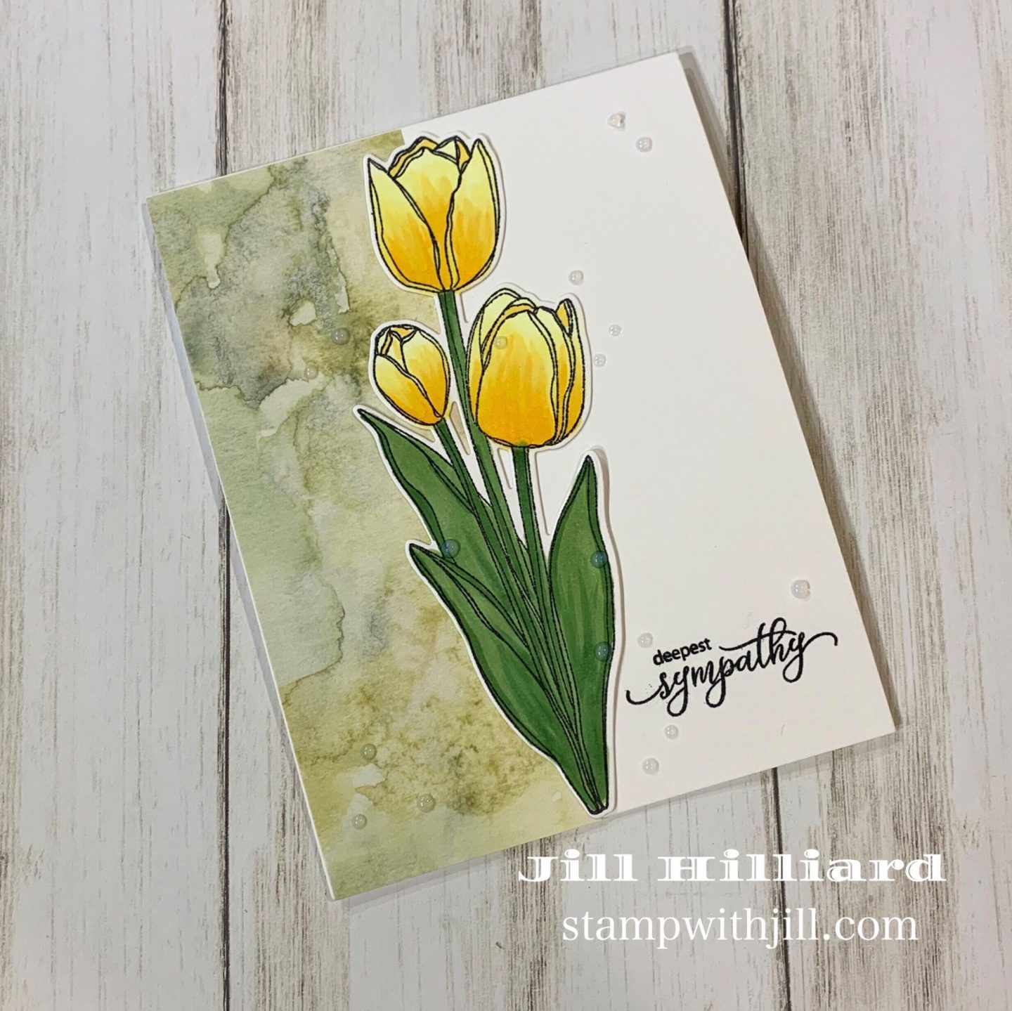 Stamp with Jill --Sympathy cards with Sketched Tulip Bouquet